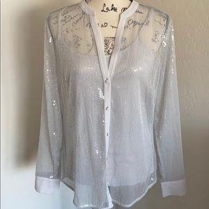 White House Black Market Sequin Button Down Shirt